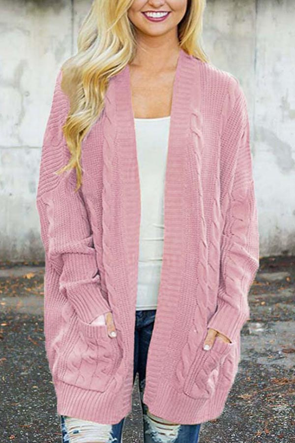 Solid Color Pocket Knit Cardigan