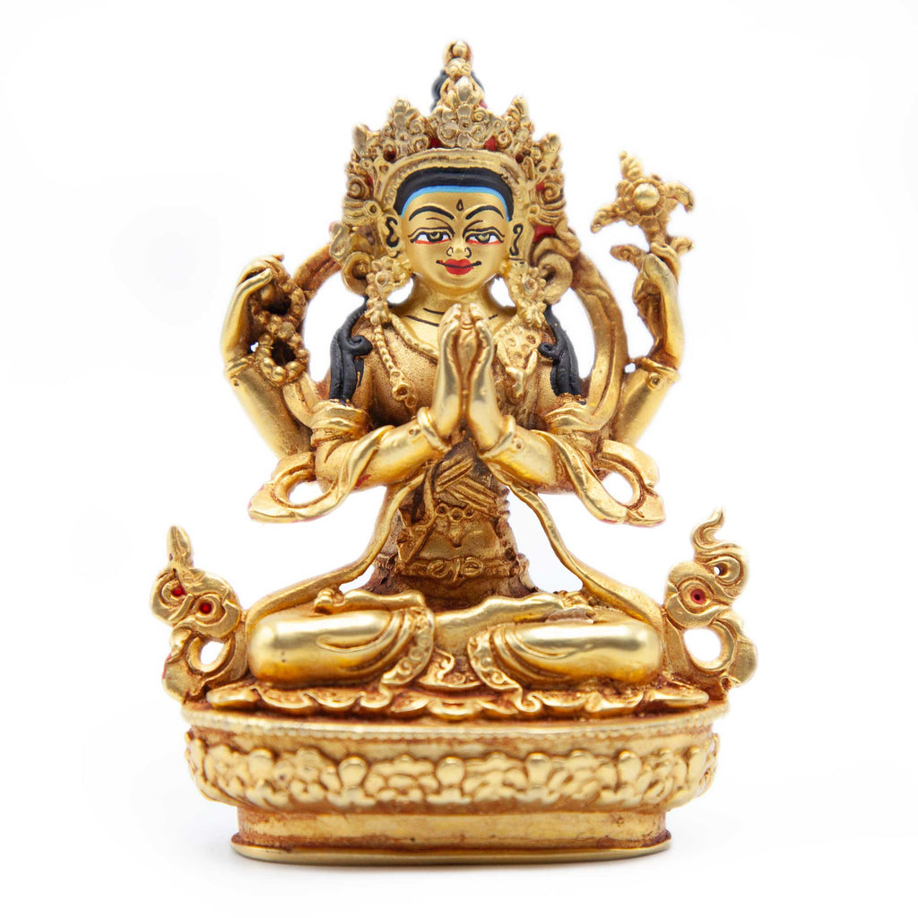 Chenrezig Gold with Painted Face Statue - Mini