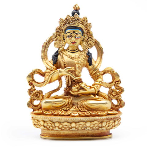 Vajrasattva Gold with Painted Face Statue - Mini