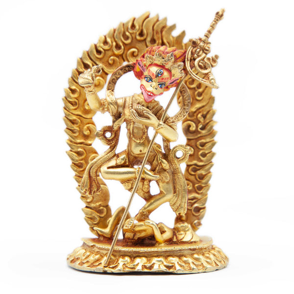 Lion Faced Dakini Gold with  Painted Face Statue - Mini