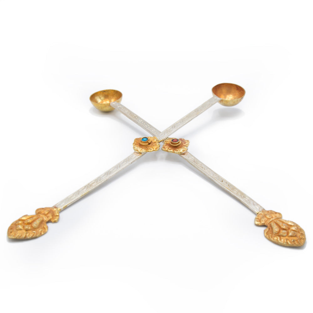 Silver and Gold-Plated Ritual Spoons - 9.75 inch