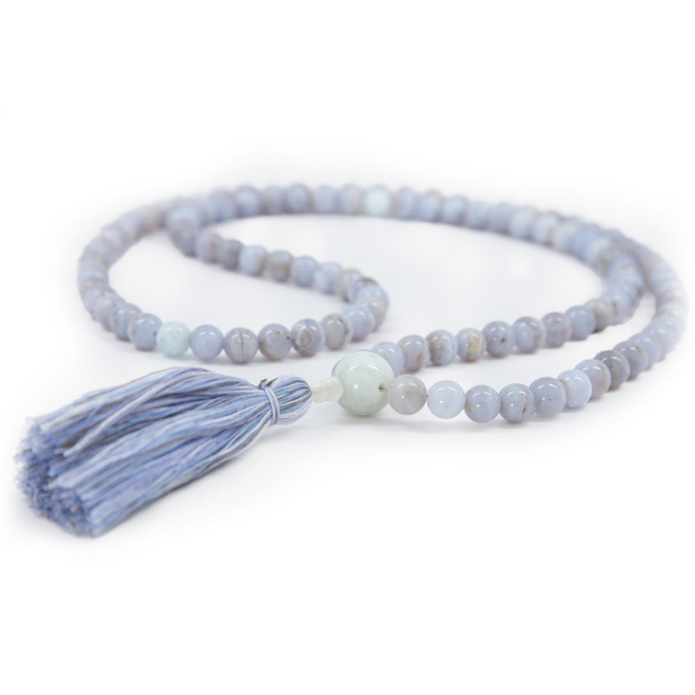 Blue Lace Agate Mala - 8mm