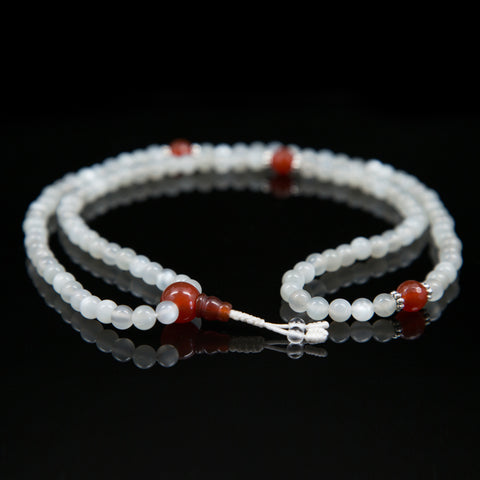 Blue Moonstone and Carnelian Mala - 6mm