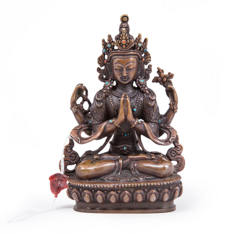 Chenrezig Oxidized Copper Statue - Small