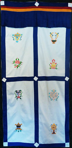 Blue Cotton Auspicious Symbols Door Curtain