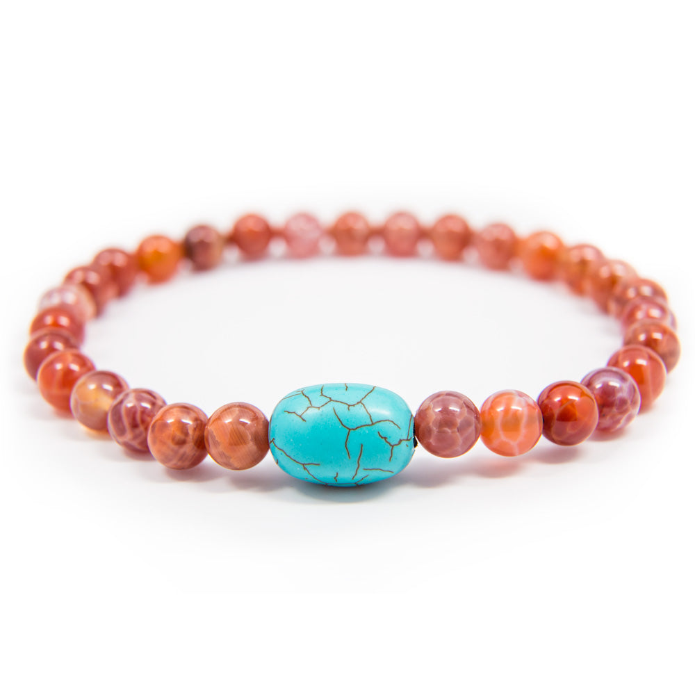 Crab Fire Agate and Turquoise Prostration Mala - 8mm