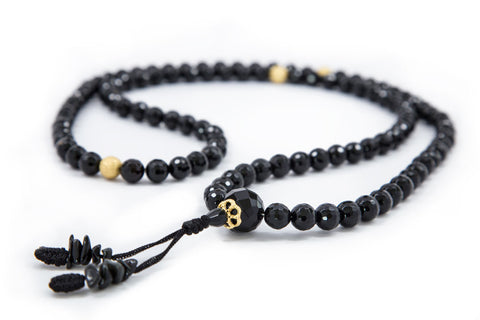 Faceted Black Onyx Mala - 8mm