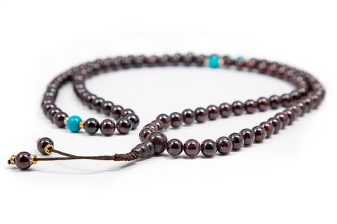 Garnet with Turquoise Spacers Mala - 8mm