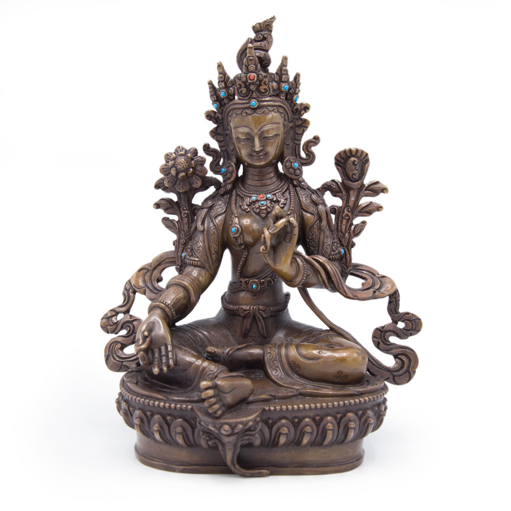 Green Tara Copper Statue - 8.5 inch