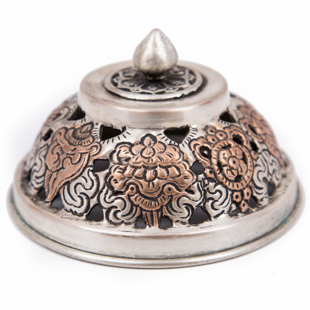 White Metal Hanging Incense Burner - 4 inch