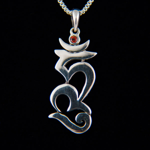 Hung Syllable with Garnet Pendant - Large