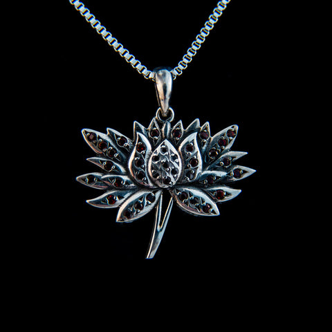 Lotus Flower with Garnet Pendant