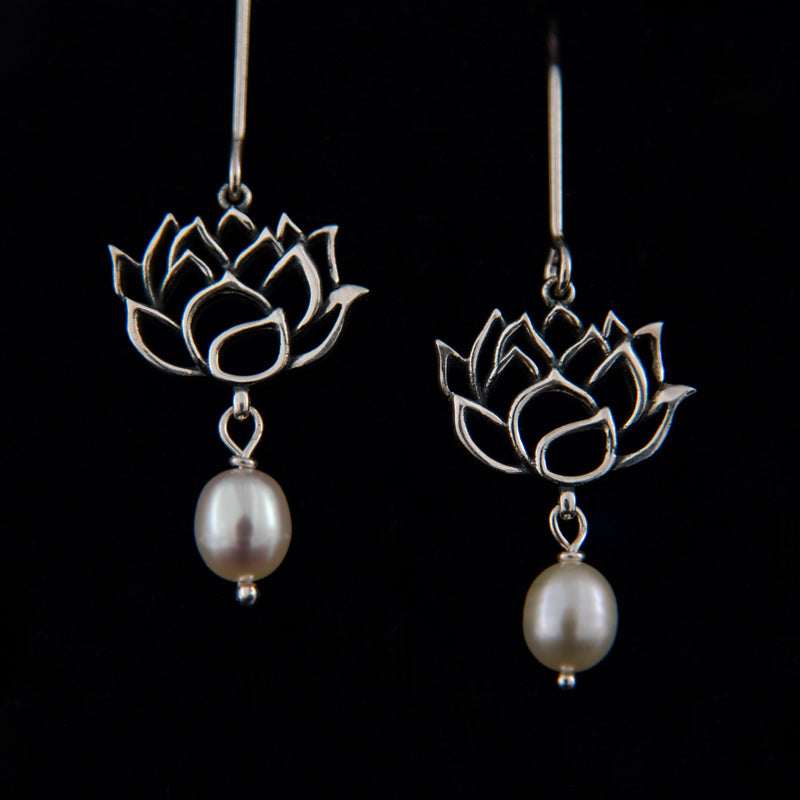 Lotus and Pearl Outline Earrings