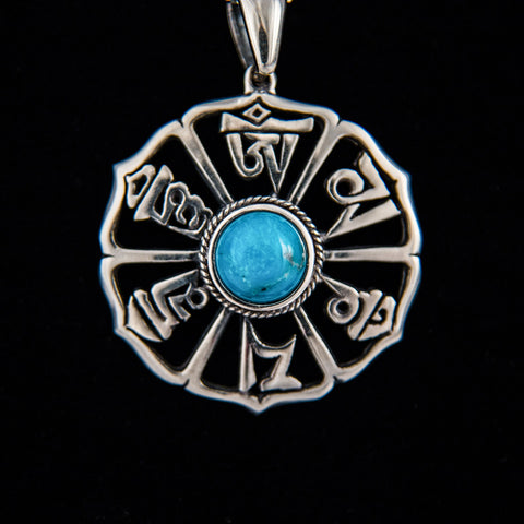 Mani Mantra with Natural Turquoise Pendant