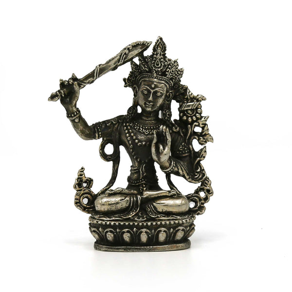 Manjushri Statue - White Metal - Mini