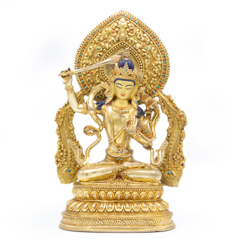 Manjushri Statue with Flame - Fully Gilded - 12""