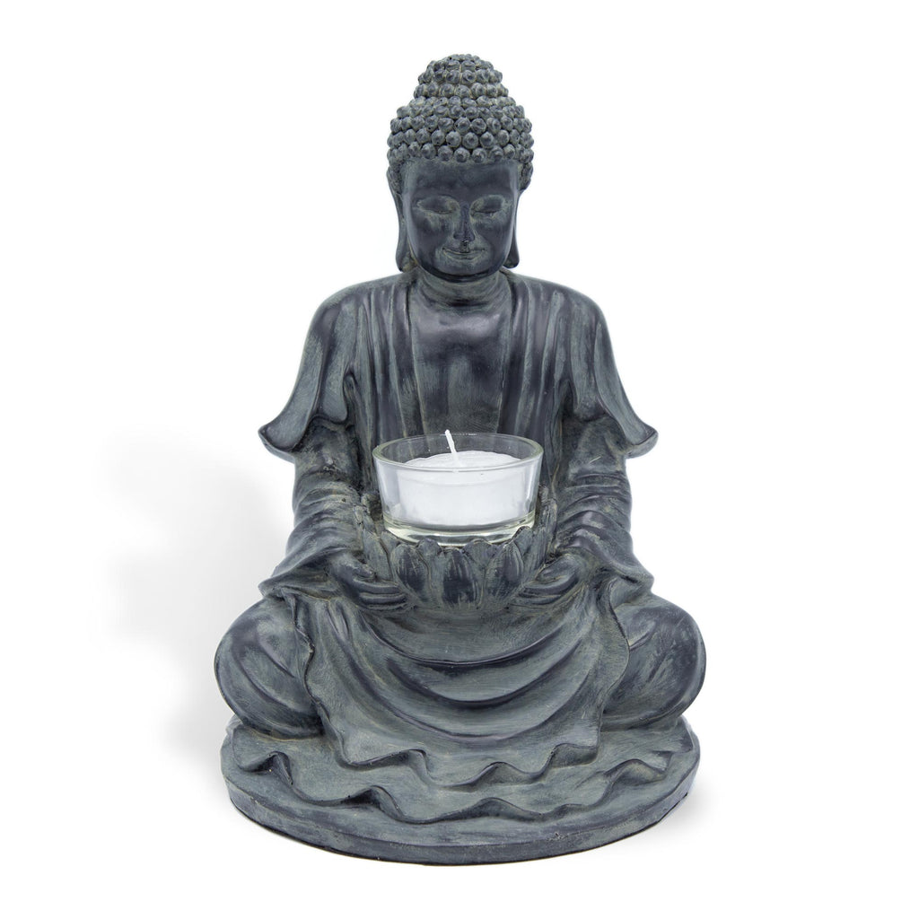 Meditating Buddha with Candle - Cast Resin