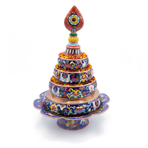 Medium Blue Cloisonné Mandala Set with Stand