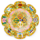 Large Yellow Cloisonné Mandala Set with Stand