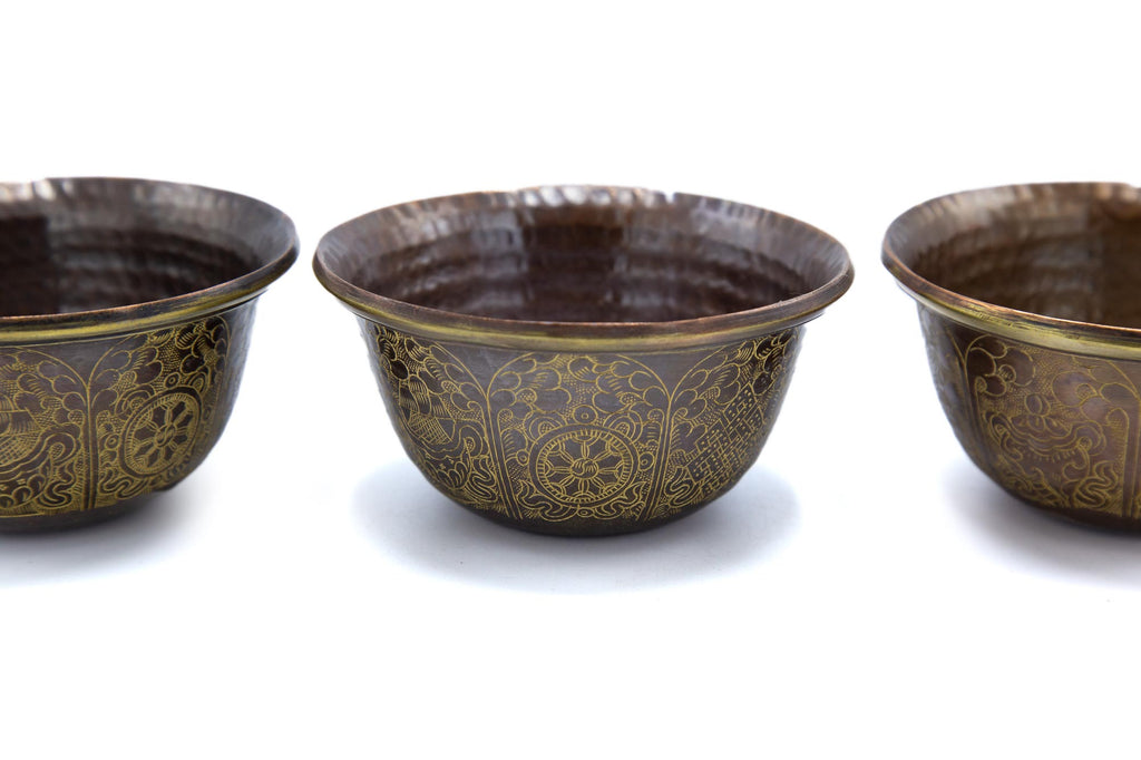 Fine Engraved Copper Offering Bowls - 4 inch