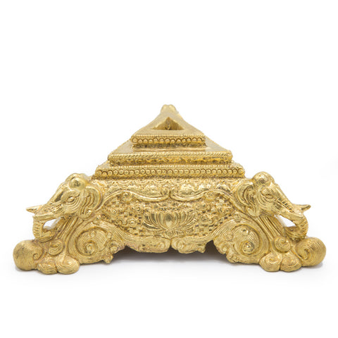 Ornate Brass Elephant Phurba Stand - Large