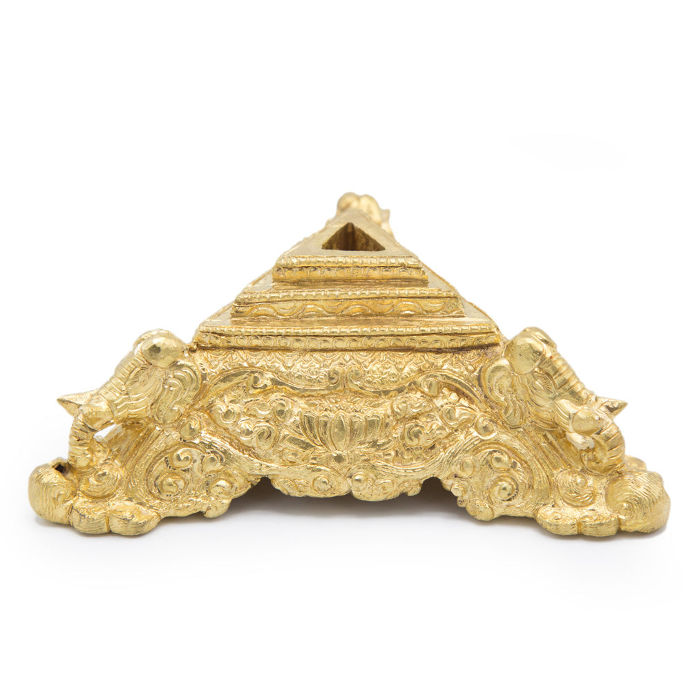 Ornate Brass Elephant Phurba Stand - Medium