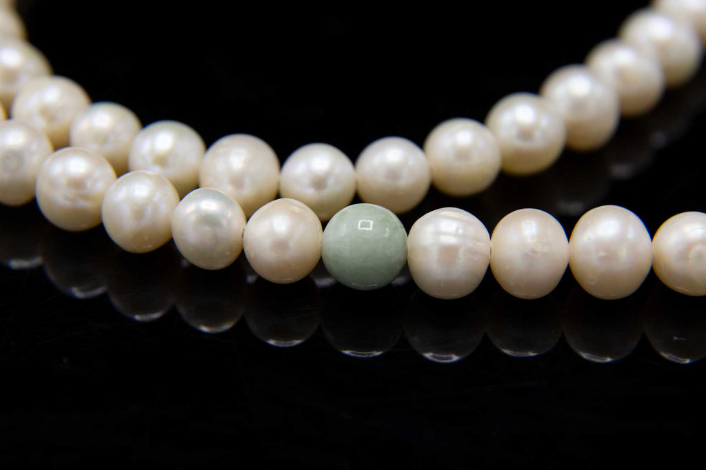 Pearl with Jade Mala - 8mm