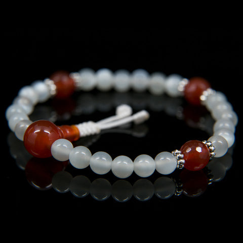 Blue Moonstone with Carnelian Pocket Mala - 6mm