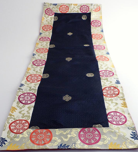 Blue Brocade Puja Table Cover
