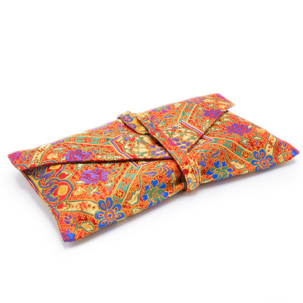 Indian Silk Brocade Text Envelope - Red