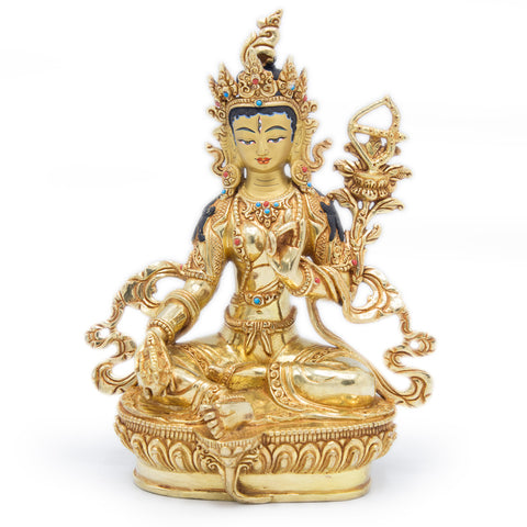 Red Tara Statue - Fully Gilded - 9""