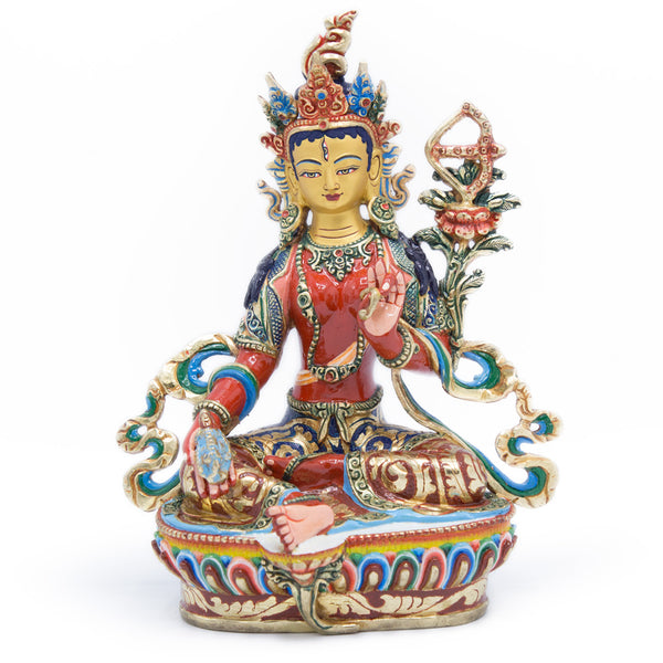 Red Tara Painted Statue - 9 inch - #6