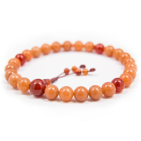 Red Adventurine and Carnelian Pocket Mala - 8mm