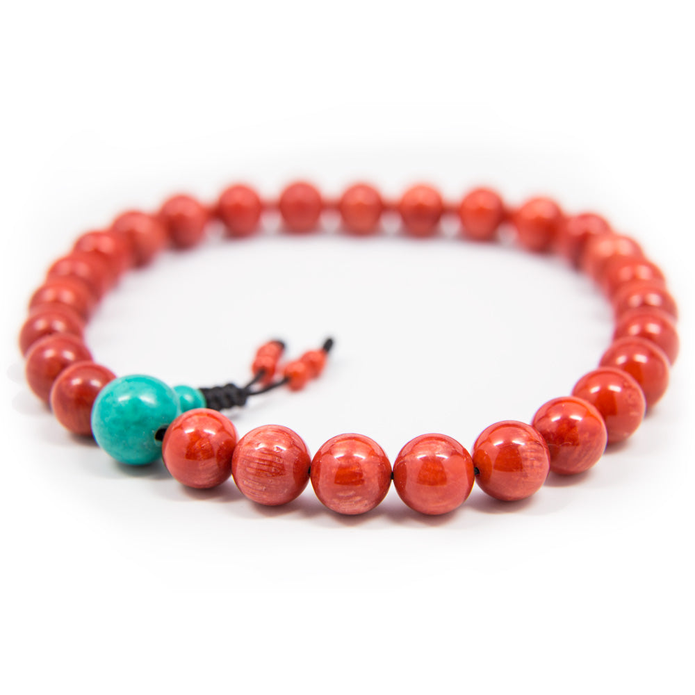 Red Coral and Turquoise Guru Bead Pocket Mala - 8mm