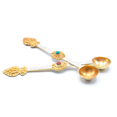 Ritual Spoons (set of 2) Silver and gold brushed - 6.5""