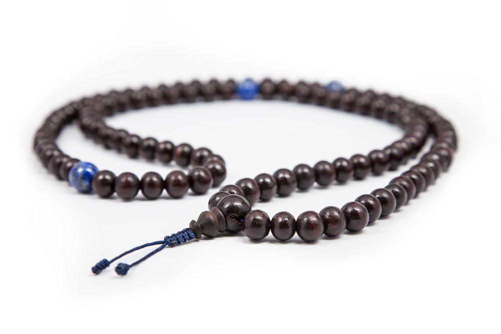 Rosewood and Lapis Mala - 9-10mm