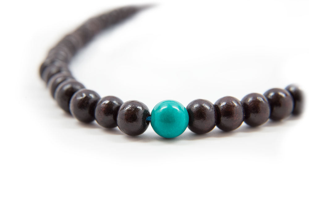 Rosewood and Turquoise Mala - 6mm