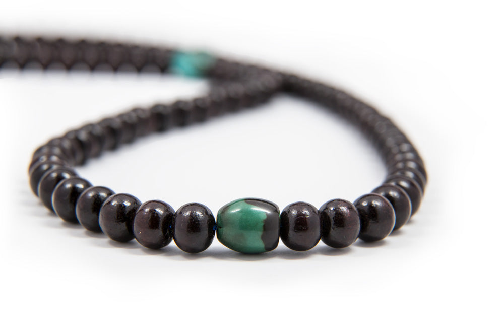 Rosewood and Turquoise Mala - 8mm