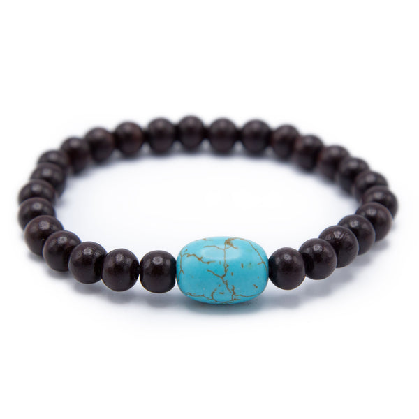 Rosewood and Turquoise Prostration Mala - 8mm