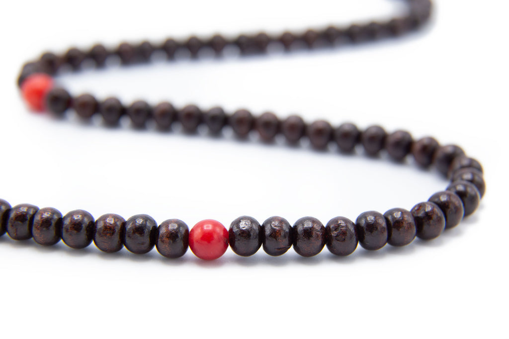 Rosewood and Round Coral Mala - 6mm