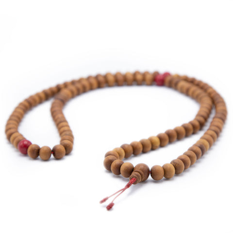 Sandalwood and Coral Mala - 10mm