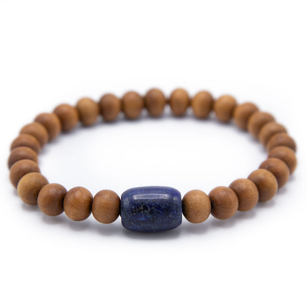 Sandalwood and Lapis Prostration Mala - 10mm