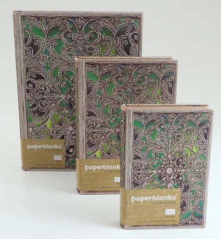 Silver Filigree Emerald Green Journal