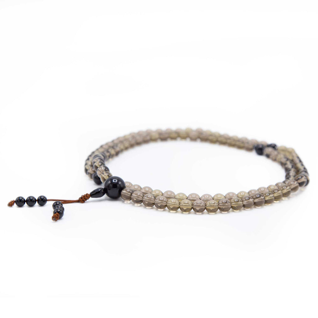 Smokey Quartz with Black Onyx Mala - 8mm