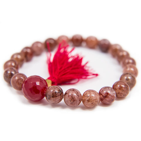 Strawberry Quartz Wrist Mala - 8mm