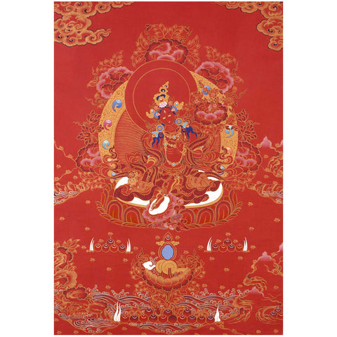 All Red Tara Thangka Print - A4