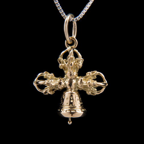 18K Gold Crossed Bell and Dorje Pendant