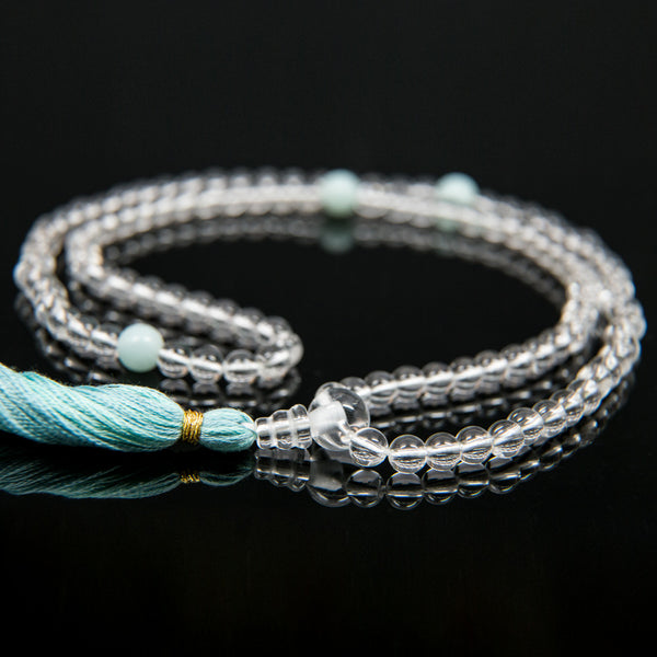 Crystal and Amazonite Mala - 7mm