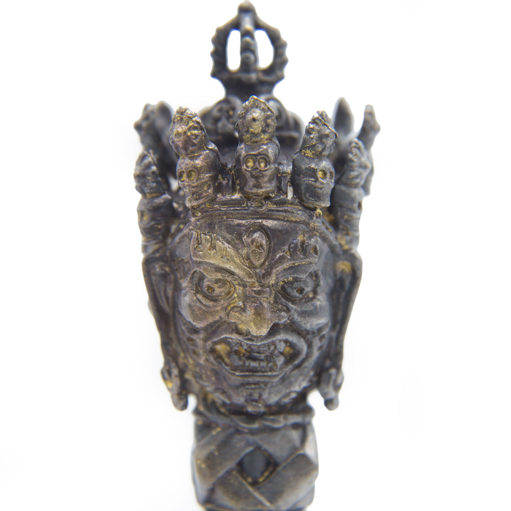 Exquisite Meteorite Phurba with 5 Pronged Dorje - 6""