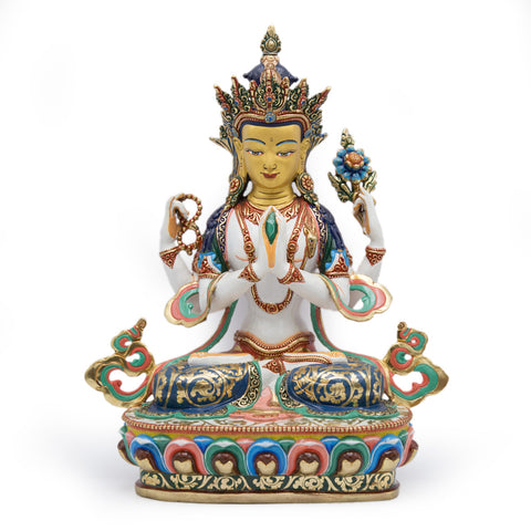 Chenrezig Painted Statue - 13.5 inch